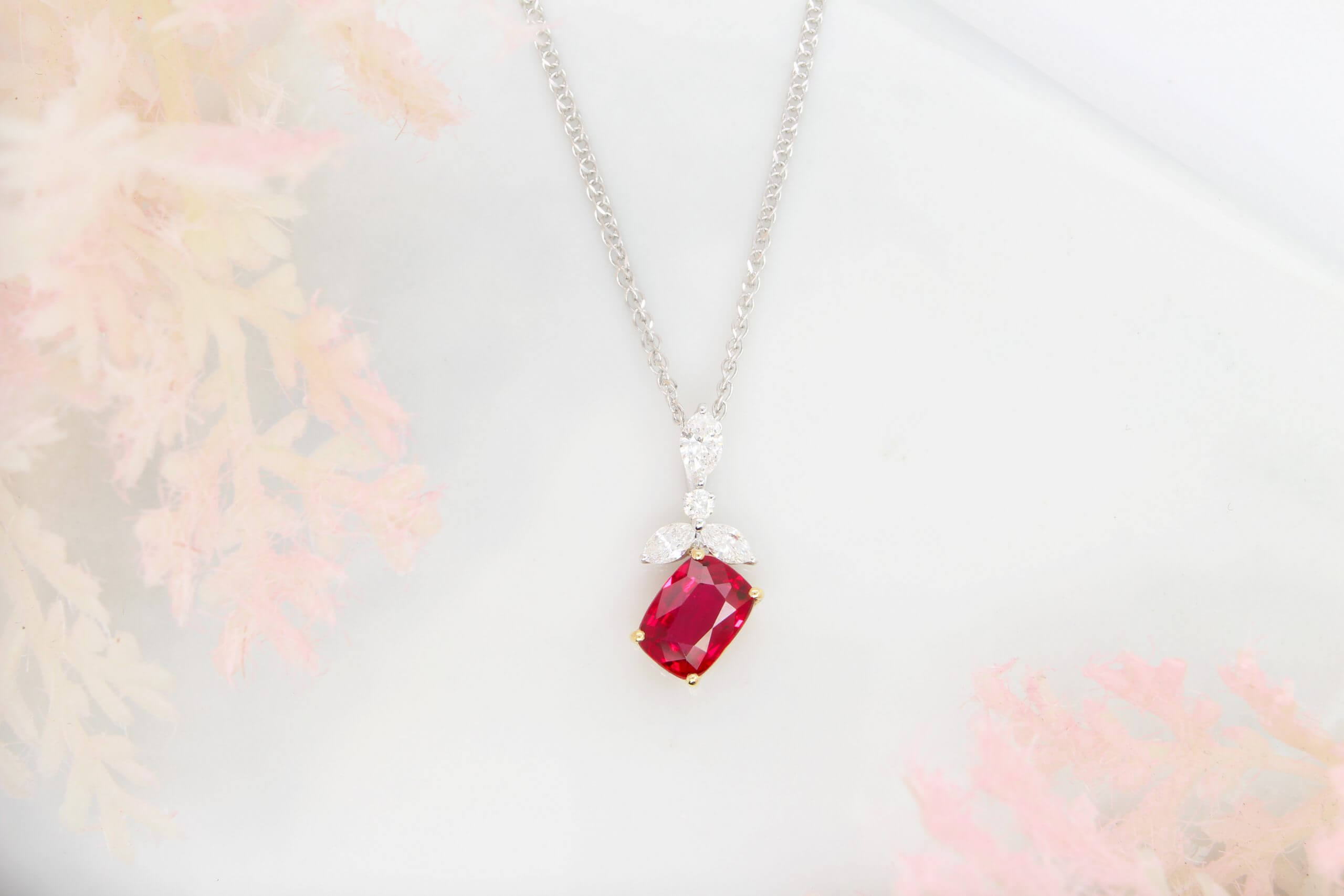 Ruby Diamond Pendant - Wedding Jewellery