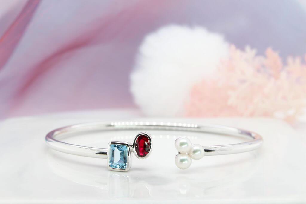 Customised Bangle Birthstone with coloured gemstone and akoya pearl