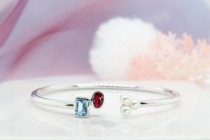 Customised Bangle Birthstone with coloured gemstone and akoya pearl