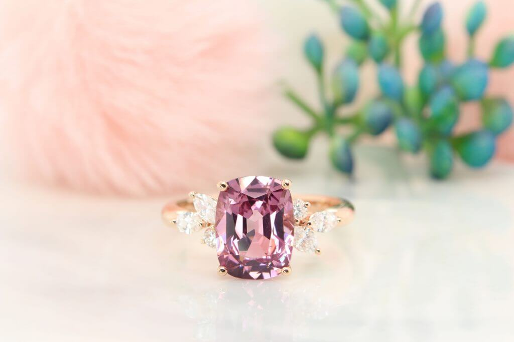 Spine Pink Gemstone Customised Engagement ring with cluster diamond