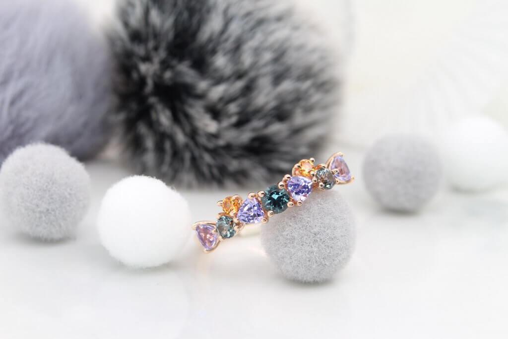 Family Cluster Birthstone Ring customised birthstone jewellery with spinel, tanzanite, mandarin garnet.