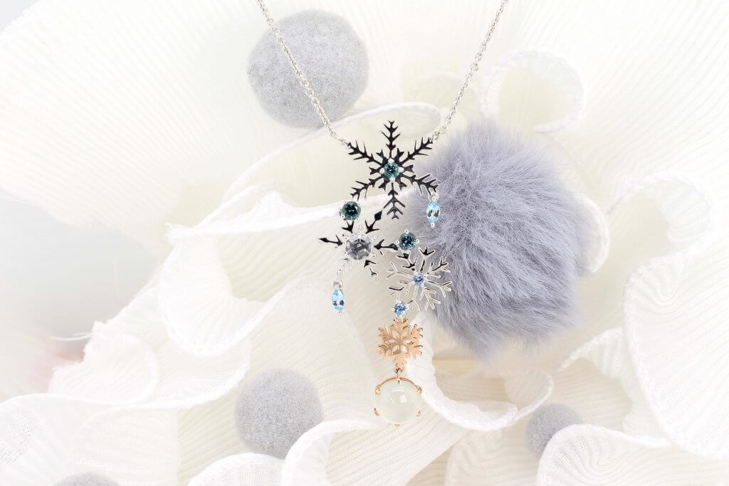 Snowflake Wedding Jewellery in Bracelet and Necklace Pendant Si Dian Jin - Customised Design with Coloured gemstone and diamond to modern wedding Jewelry.