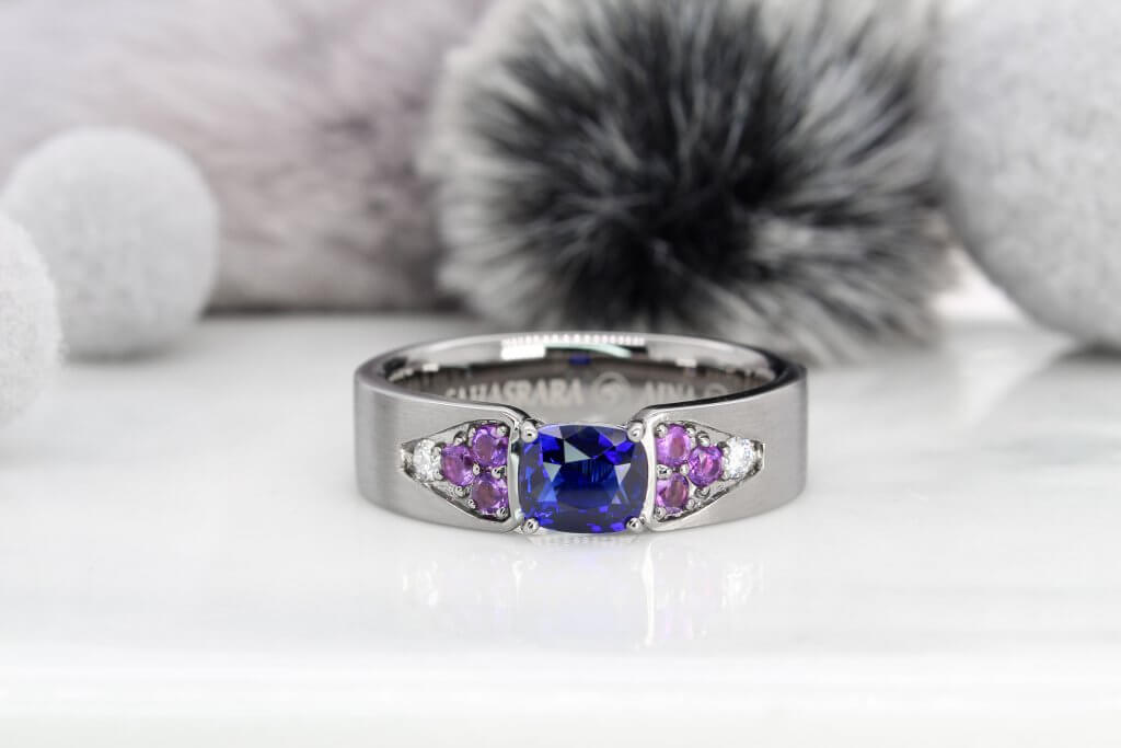 Blue Sapphire Modern Astrology Men's Ring