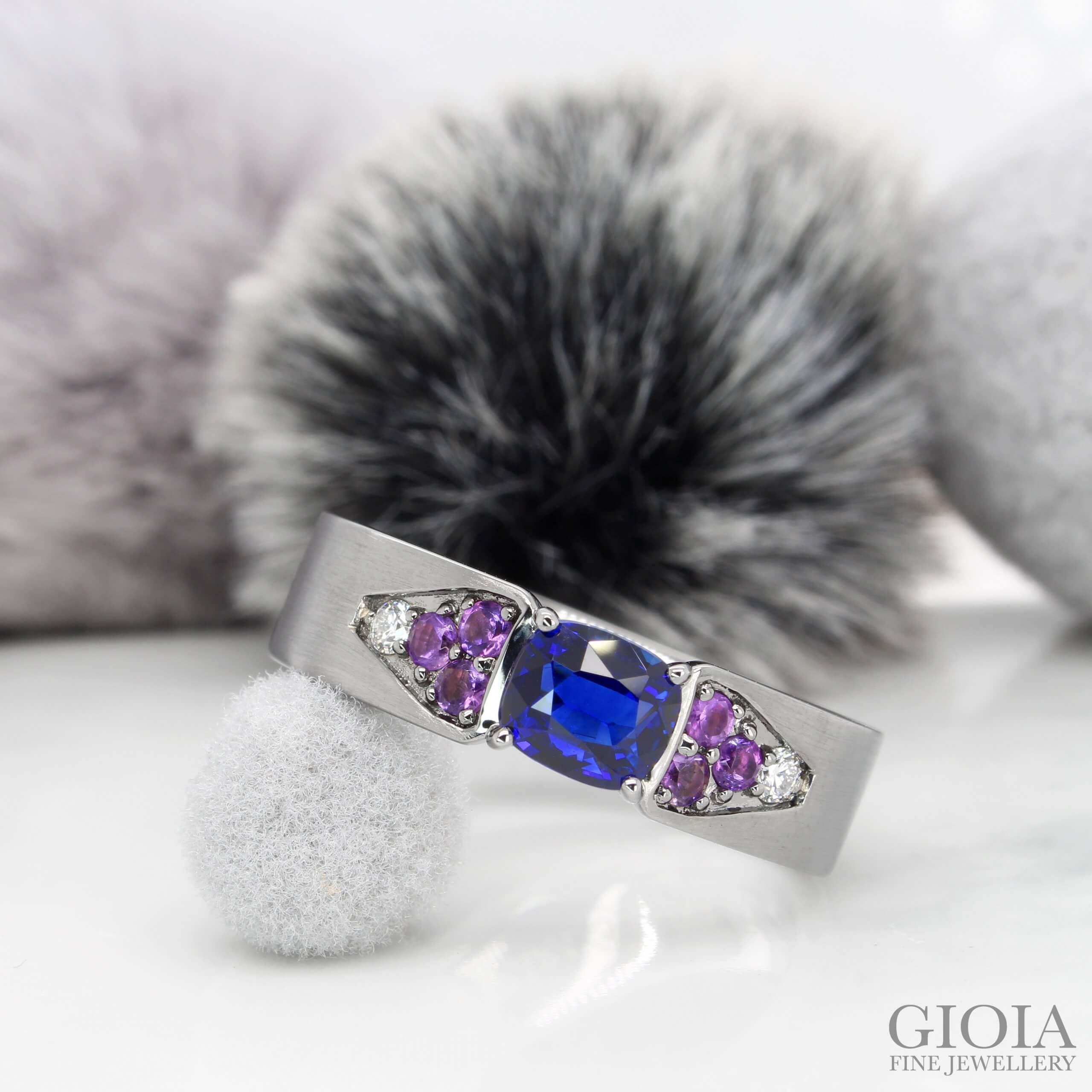 Blue Sapphire Modern Astrology Men's Ring - Royal Blue Sapphire unheated with Amethyst Diamond