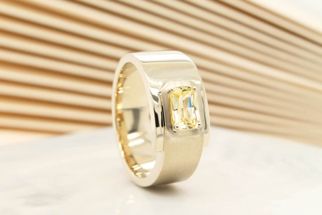 Yellow Sapphire Modern Men's Ring