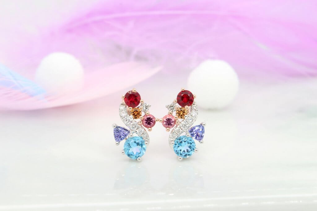 Personalised Earring stud with birthstone jewellery from ruby, mandarin garent, topaz, tanzanite and spinel.