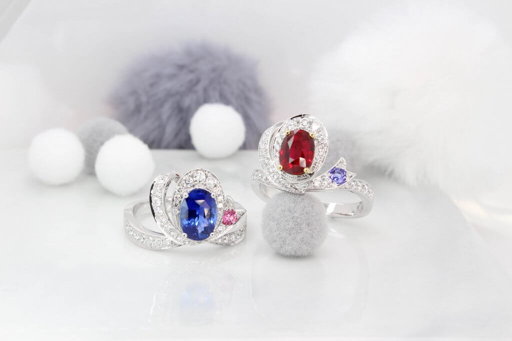 Ruby Pigeon Blood & Sapphire Royal Blue Sapphire Bespoke Fine Jewellery - Inspired by the ribbon bow design, creating own heirloom Ruby & Sapphire jewellery
