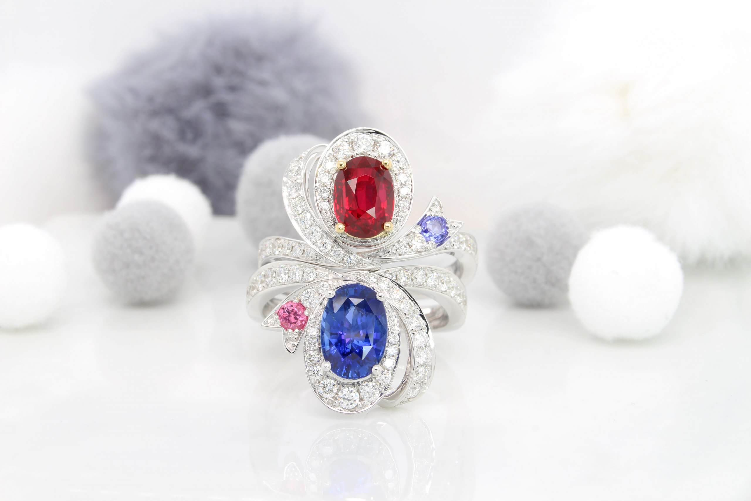 Ruby Sapphire Ring Ribbon Inspired Fine Jewellery