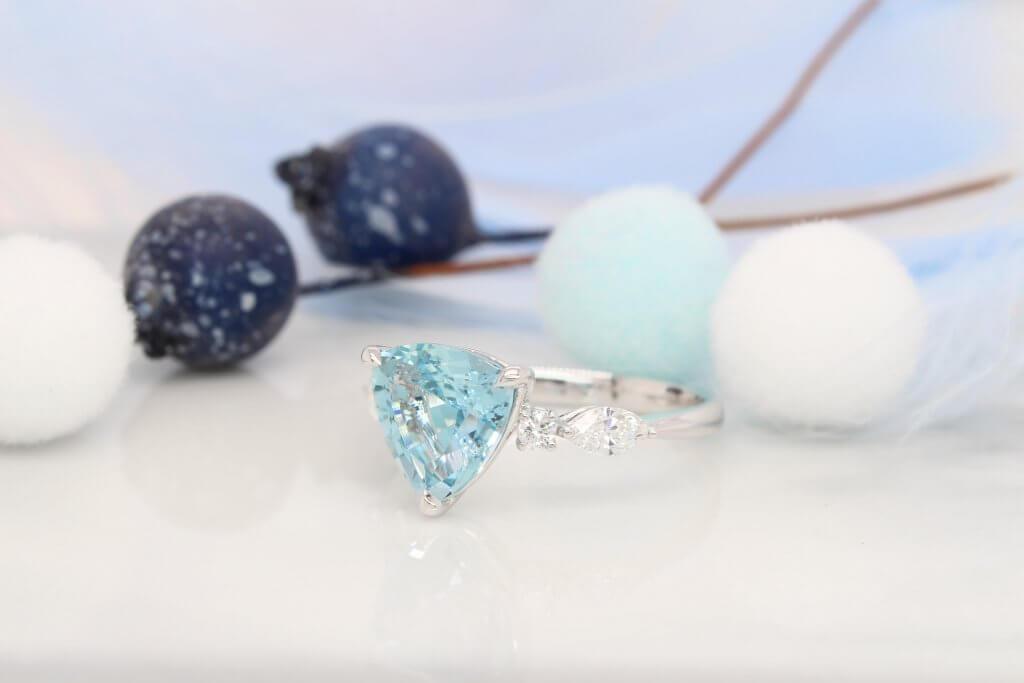 aquamarine engagement Ring marquise round diamond